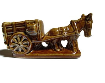 Vintage Donkey and Cart Figurine, Made In Brazil