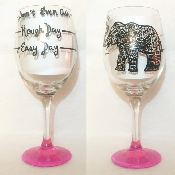 Items similar to rough day monogram bohemian elephant for Painted wine glasses with initials