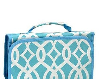 Machine Embroidered Tri-Fold Cosmetic Bag.  Vine print with pale blue trim