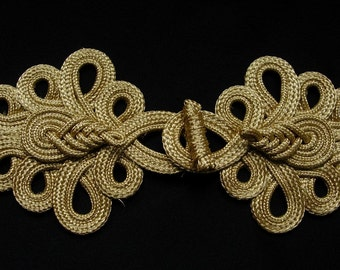 MR154 Gold Metallic Cord Chinese Pipa Fastener Frog Closure Knot Sewing/Jewelry/Craft/Fashion