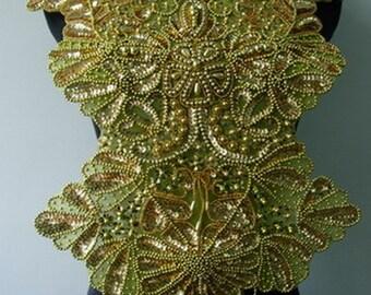 BD55 Elegant Bodice Sequined Beaded Applique Gold for Dancewear/Designer/Samba