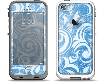 The Vector Blue Abstract Swirly Design Apple iPhone LifeProof Case Skin Set