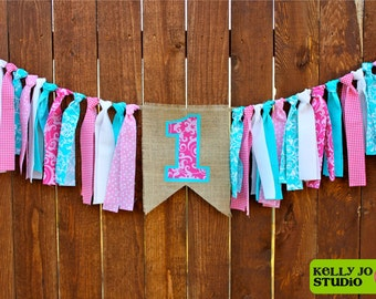 Burlap, Pink and Turquoise Fabric Highchair, Cake Smash, Photo Prop, Birthday Party Banner - Pink & Turquoise First Birthday Party Banner
