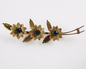 Rose and yellow gold filled and blue-green rhinestone floral VanDell brooch