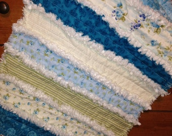 Security Blanket, Lovey Rag Quilt, Doll Quilt, Mini Rag Quilt, Handmade ,Turquoise,Green, Cream, Cottage Chic. Shabby Style. 18 X 24