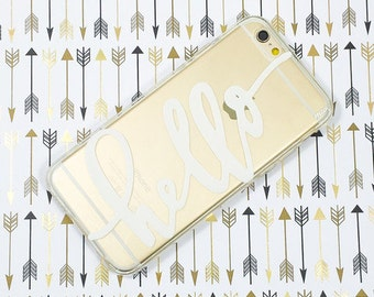"""Clear Plastic Case Cover for iPhone 6 (4.7"""") Hello"""