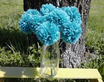 12 Jade yarn pom pom flowers. Pom pom bouquet centerpieces. Wedding/ baby shower decorations.