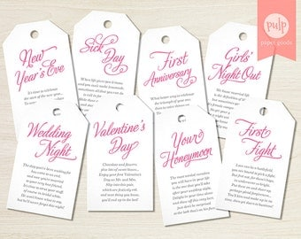 PRINTED ITEM: Panty Tags with Poems / Lingerie Shower or Bachelorette Party Gift Set / Bridal Gift from Bridesmaids - Set of 8