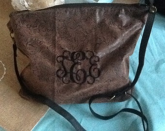 Western Hobo Style Monogram Cross body Vegan Leather Bag/Purse