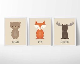 Baby Boy Nursery Art,  Fox, Moose and Bear Nursery Art, Suits Brown Nursery, Nursery Print Decor- N1077,1078,1079- Custom Color-Unframed