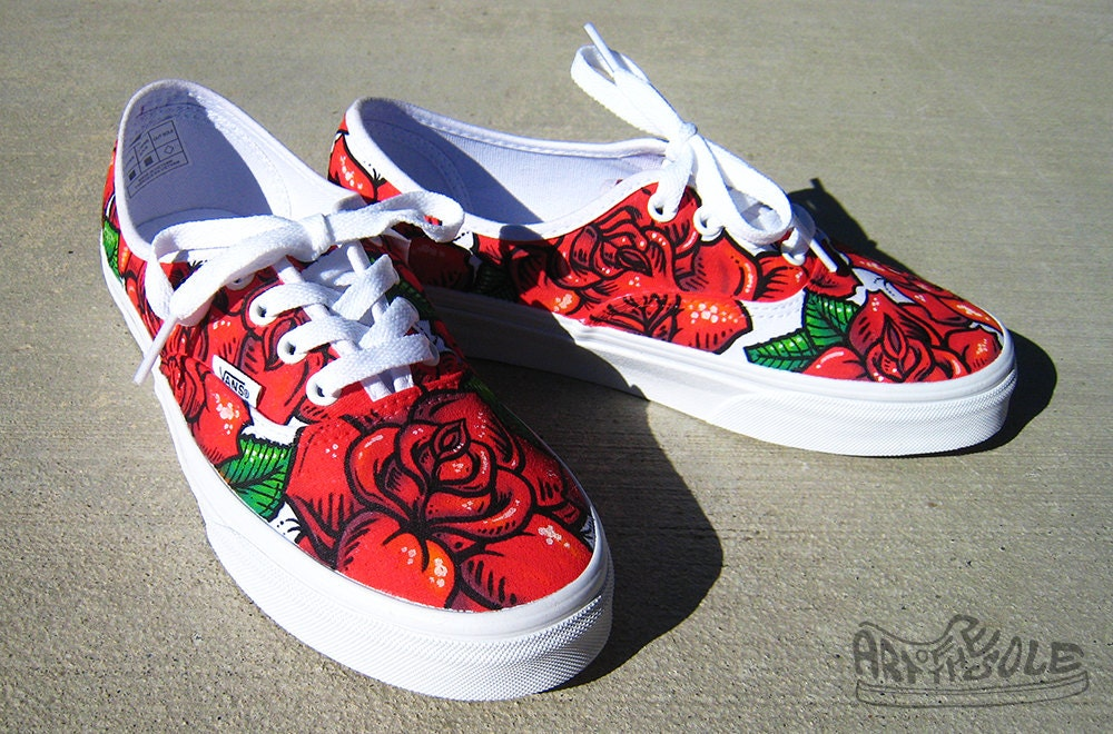 Vans Authentic Custom Rose Tattoo Cus...