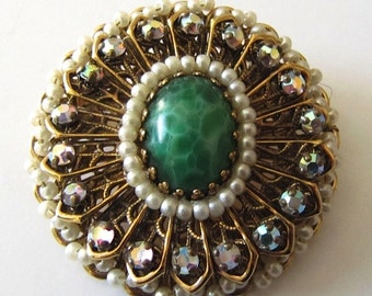 Vintage Gold and Green Glass with Aurora Bourealis and Faux Pearls Brooch or Pendant