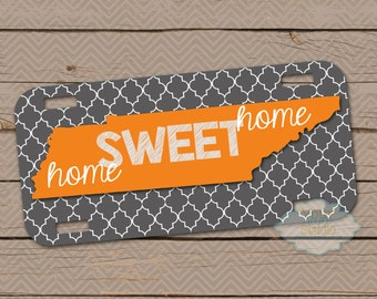 Personalized License Plate - Car Tag - Tennessee - home sweet home - Orange - 02ut001