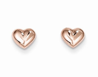 14K Rose Gold Puff Heart Earrings Studs Pink