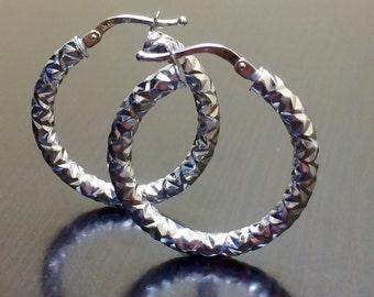 14K White Gold Hoop Earrings - 14K Gold Earrings - Gold Hoop Earrings - White Gold Earrings - 14K Gold Hoops - 14K Earrings - Gold Earrings