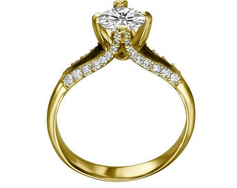 Classic Moissanite Engagement Ring, 14K Gold Ring Solitaire with Accents Promise Ring, 1.36 TCW Forever One Moissanite