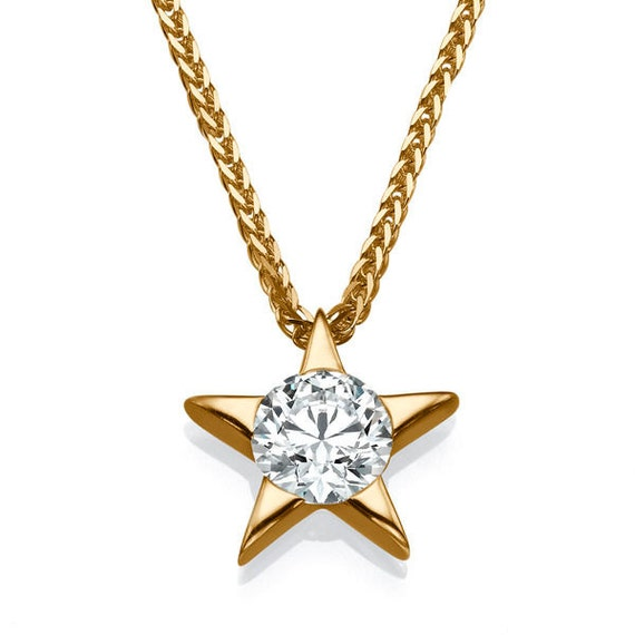 Diamond star pendant necklace 14k rose gold necklace 03 ct like this item aloadofball Gallery