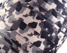 """Black, Gray and White Camouflage 5/8"""" Fold Over Elastic - 1, 3 or 5 Yards"""