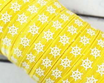 "White Nautical Ship Wheels on Yellow 5/8"" Fold Over Elastic - 1, 3 or 5 Yards"
