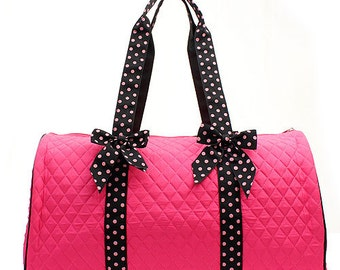 Personalized Embroidered Polka Dot Duffle Bag - Hot Pink and Black Duffel Bag