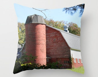 Southbury Barn, Pillow Cover, 16x16, 18x18,20x20,home decoration,red,rustic,farm,blue,green,country living,interior design,silo,cow farm