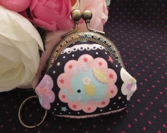 Handmade Cute Print Kiss Lock Coin Purse Coins Bag Small Pouch (6cm)