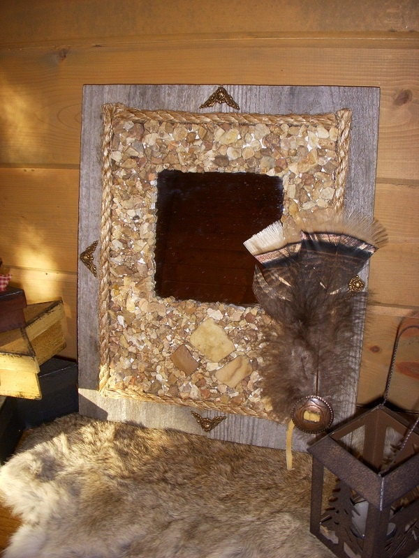 Rock Home Decor: Rustic Mirror Natural River Rock Home Decor By WimsyAndWoodsy