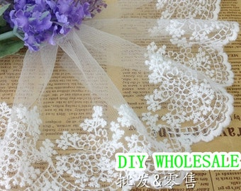 2 yards White Embroidery Lace Trim Bridal Lace Cotton Embroidery- width 11cm, lace trimming