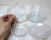 Crystal plate saucer ash tray candle holder lot set bulk Vintage Cut Clear Glass Retro etched engraved carved linear ornament round