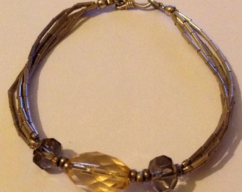 Vintage Liquid Silver Bracelet With Faceted Orange Amber Glass Beads - Sterling Silver