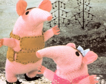 vintage knitting pattern PDF file for The Clangers retro tv character toys