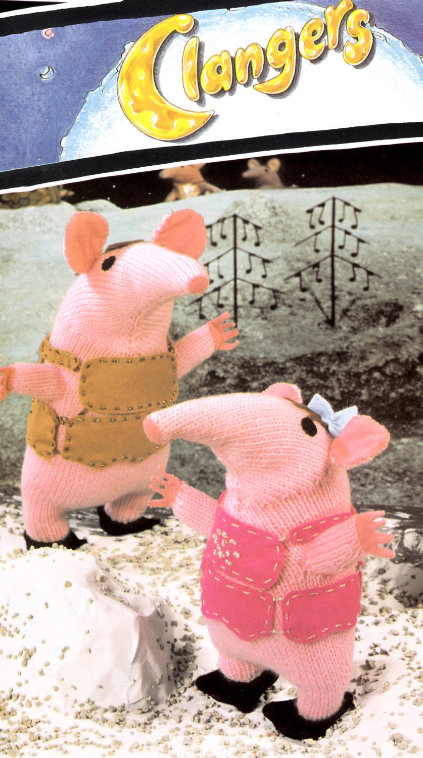 vintage knitting pattern PDF file for The Clangers retro tv
