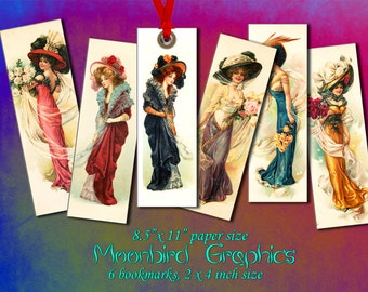 "VINTAGE LADIES BOOKMARKS -  Digital Collage Sheet – 2"" & 4"" size – Printable Instant Download for your craft"