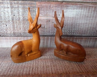 Hand Carved Wood Antelope / Gazelle Figurine Pair