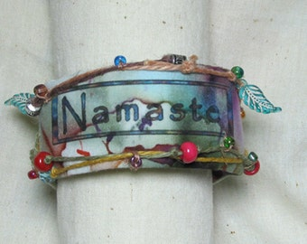 "A Blessing when meeting or parting ""Namaste"" Inner Peace cuff bracelet"