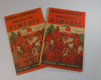 Pair of Vintage Healthway Products Almanacs Dated 1962 And 1964