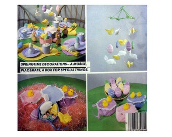 Springtime Home Decor Decorations Easter Box, Egg Chick Rabbit Mobile, Placemats, Crafts Sewing Pattern Uncut, Vintage 1980's McCall's 724