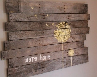 Home Sign, Dandelion Sign, Large Wooden Sign