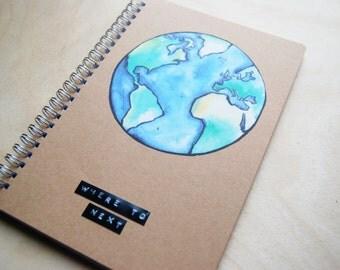 Travel Journal  Globe /  watercolors