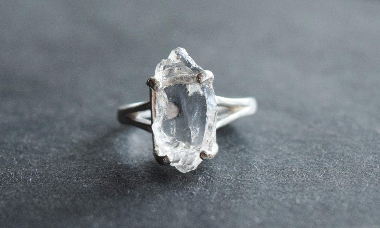 Handmade Raw Diamond Engagement Ring Rough Natural Uncut