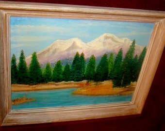 Signed Framed Original Vintage Oil on board Mountain Lake Landscape painting by S. Wm. Pachucke