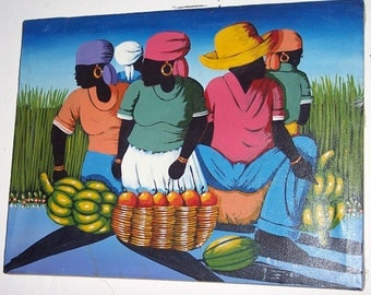 """Signed A Emmanuel  """"Women in The Market Place"""" Haitian Art Canvas Painting"""