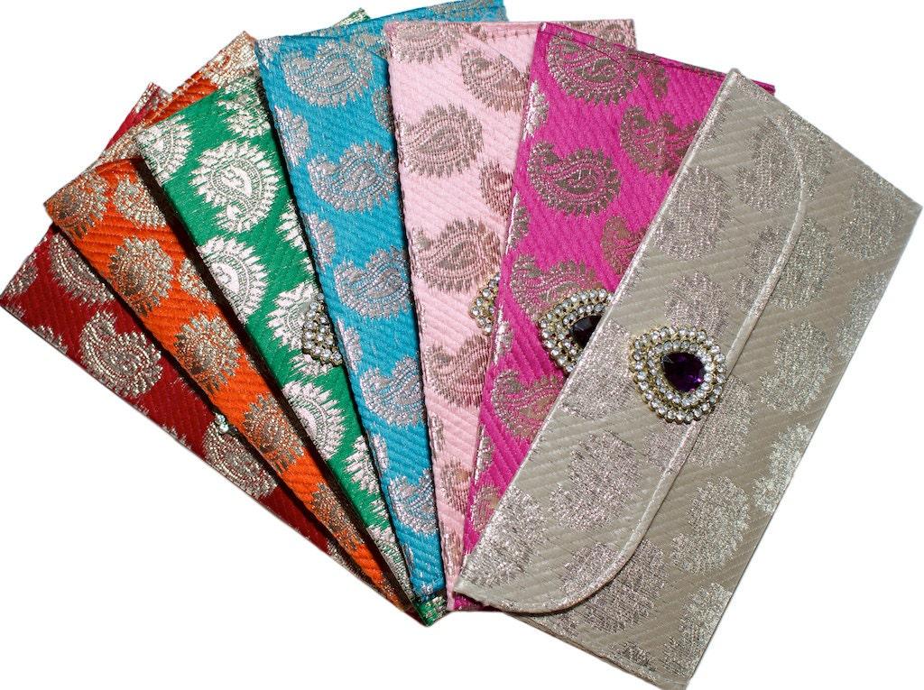 5 x Beautiful Indian Asian Silk Brocade Eidi Gifting Money