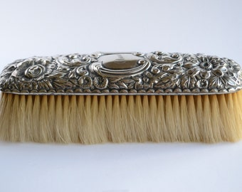 Antique 1880's Gorham Victorian art nouveau sterling silver floral repousse clothing grooming natural bristle brush