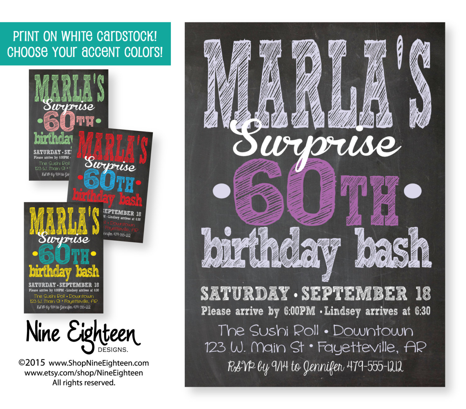 Surprise Party Invitation. Adult Custom Printable By