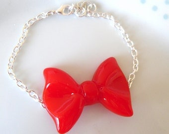 Red Cute Resin Bow Silver Bracelet, Quirky, Kawaii, Kitsch, Girly