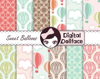 Hot Air Balloon Digital Paper, Printable Cloud / Sky Digital Scrapbook Paper, for Decorations / Crafts