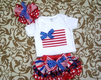 July 4th Baby Girl Bodysuit,diaper cover & matching Hair Bow/Red White Blue/Patriotic Bodysuit/July 4th outfit for girls/Girls 4th of July
