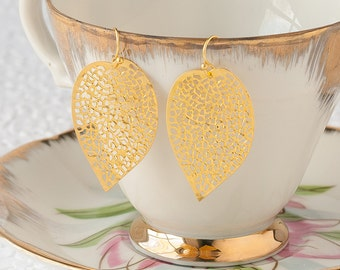 Gold Leaf Earrings Large Leaf Earrings Gold Dangle Earrings Filigree Earrings Woodland Earrings Nature Jewelry Bridesmaid Gift