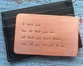 Personalized Anniversary Gift for Men Hand Stamped Copper Wallet Insert Metal Card 7th Year Dad Father's Day Men Groom Husband Boyfriend